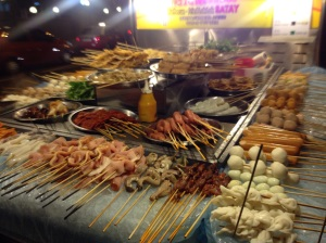 A tantalising selection of Malaysian style fast food - night time KL 2015