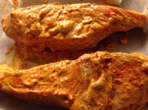 Marinated salmon... in tandoori style indian spices for 15 minutes