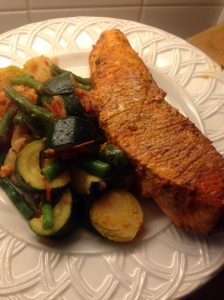 Tandoori salmon with zucchini, Brussel sprouts and green beans