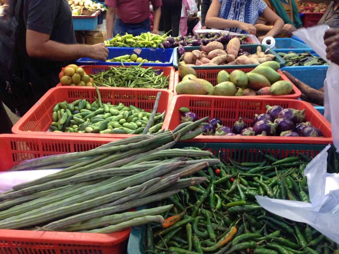 Vegetables at Little India food markets in Kuala Lumpur