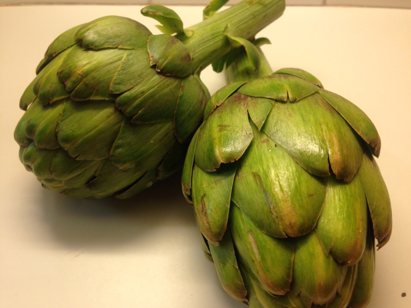 Fresh young artichokes