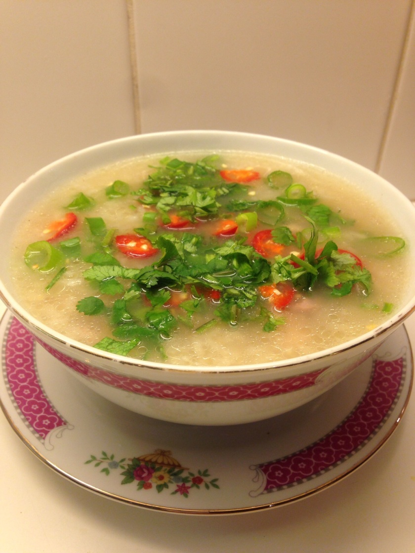 Hearty, healthy and spicy chicken soup with rice