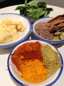 Ginger, garlic, cummin seeds, cinnamon bark, cardamom pods, turmeric, cummin powder, fennel powder and chilli powder
