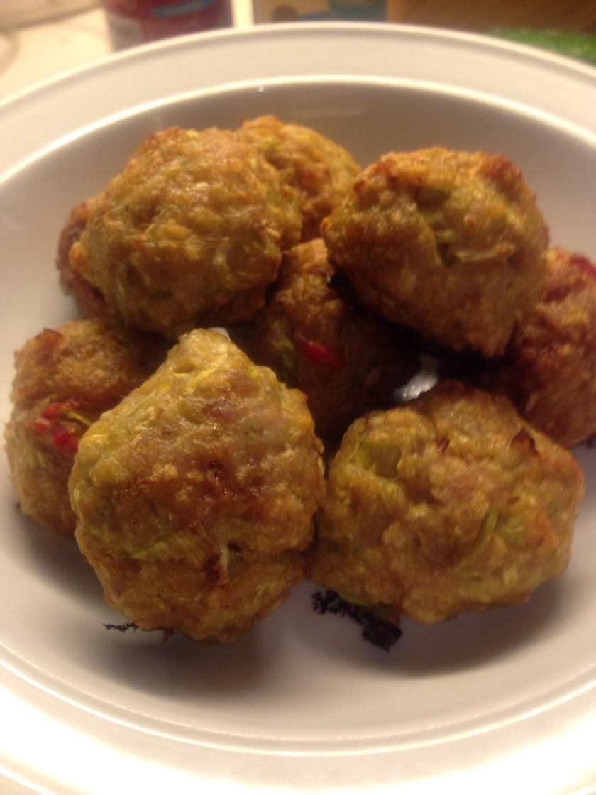Light, fluffy, baked chicken and zuchinni meatballs