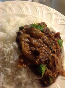Thick black bean dhal with rice