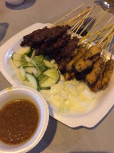 Mixed satay at Lau Pa Sat outdoor satay market straight from the cbar coal grill with spicy satay sauce.