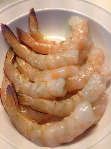 Prawns peeled, deveined with tails intact