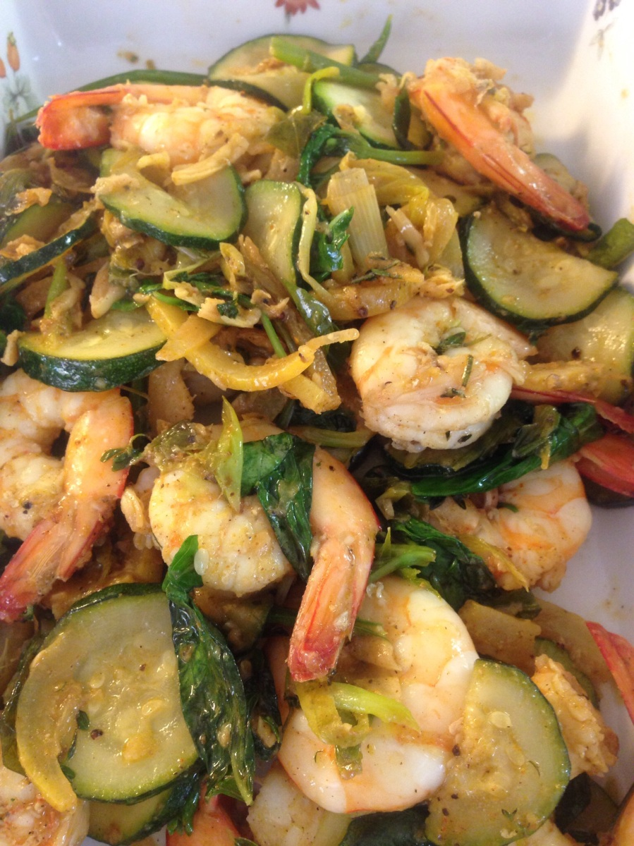 Pondicherry Prawns with zuchinni, preserved lemon and herbs