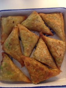 Durban-style mince and pea samosas with spring roll pastry