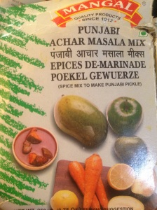 Example of packaged pickling masala available at indian spice shops