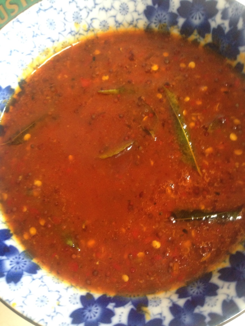Indian chilli sauce with apricot jam and mustard seeds, perfect with samosas