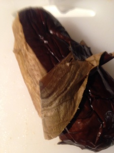 Peel skin off the roasted eggplant