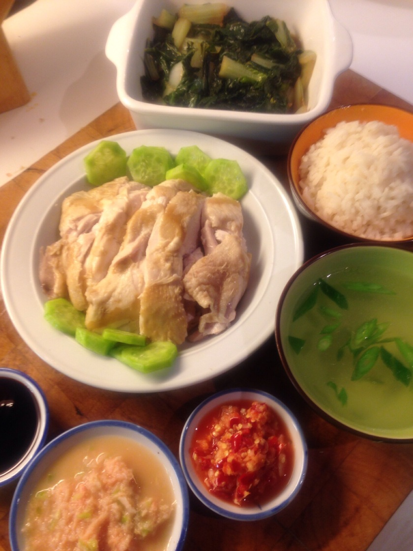 Singapore style Chicken rice with accompaniments inspired by Loy Kee restaurant.