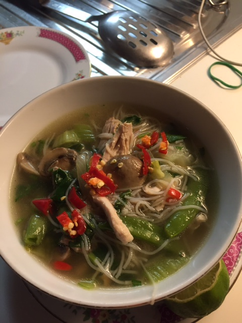 Thai flavoured chicken, vegetable and noodle soup