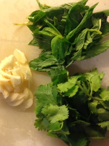 Sliced garlic, coriander and mint for crazy water