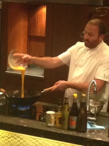 Chef Andy Evans demonstrating recipes T Sydney Seafood School