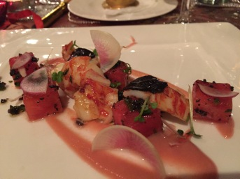 Seared Freshwater Sulawesi Yabbies, Radish puree, Ginger flower, chargrilled watermelon and Black Truffle