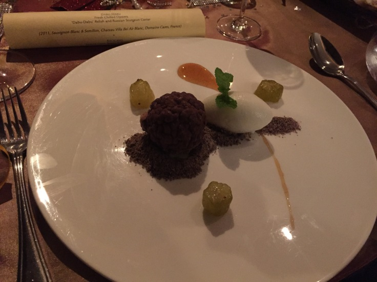 Kaffir Lime Clay with Valrhona Chocolate and Kaffir Lime Sorbet