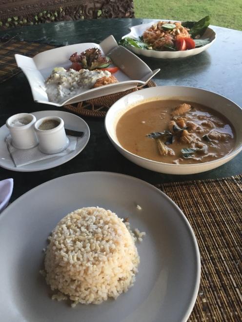Dinner served at on our villa verandah at Turtle Bay Hideaway, Jasri, East Bali