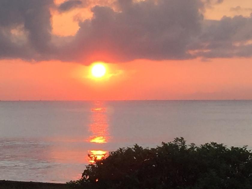 View of sunrise from Villa Mandala at Turtle Bay Hideaway, Jasri, East Bali