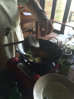 Stir-frying Nasi goreng