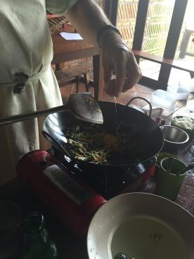 Stir-frying Nasi goreng