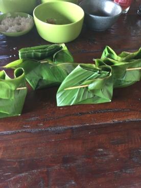 Tofu banana leaf parcels