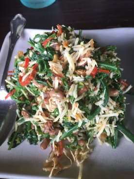 Urab Paku Kacang Merah - fern tips with grated coconut and red beans