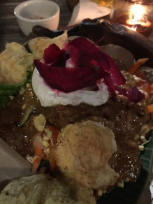 Gado Gado with poached egg, beetroot and fried tofu at warung Mendez