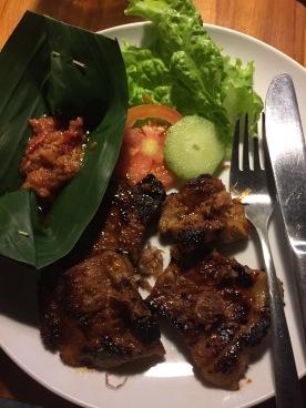 Grilled Pork with salad and sambal at Bubu's Warung in Penestanan, Ubud