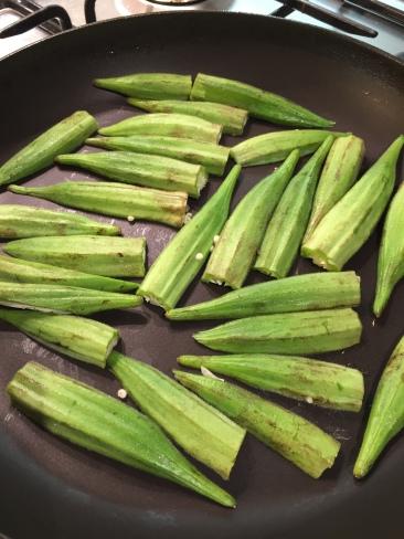 Dry frying okra removes slime