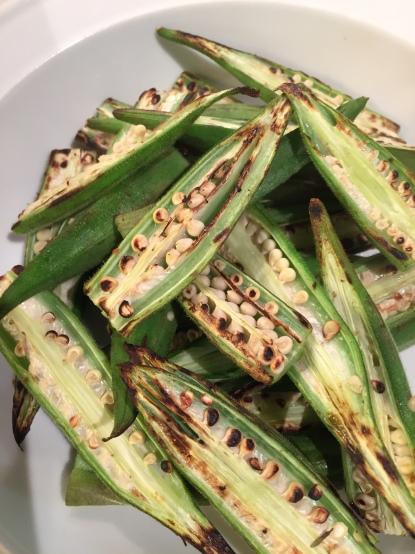 Browned, dry fried okra