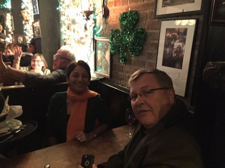 A booth at Molly's Bar in NYC for St Pat's Day dinner