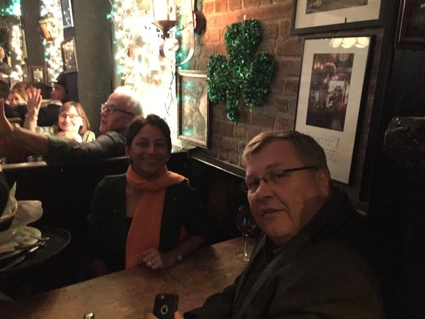 A booth at Molly's Bar in NYC for St Pat's Day dinner