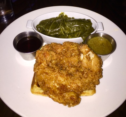 Chicken and waffle with collard greens, gravy and syrup
