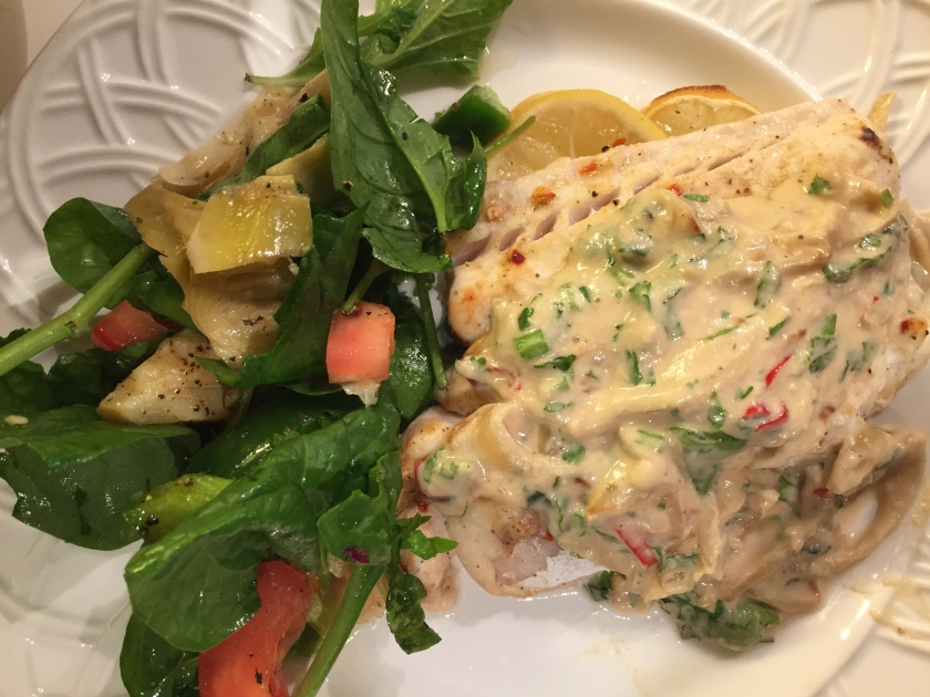 Baked fish with spicy Tahini and onion sauce