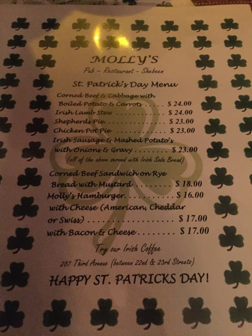 Traditional Irish Food on the menu at Molly's Bar in New York