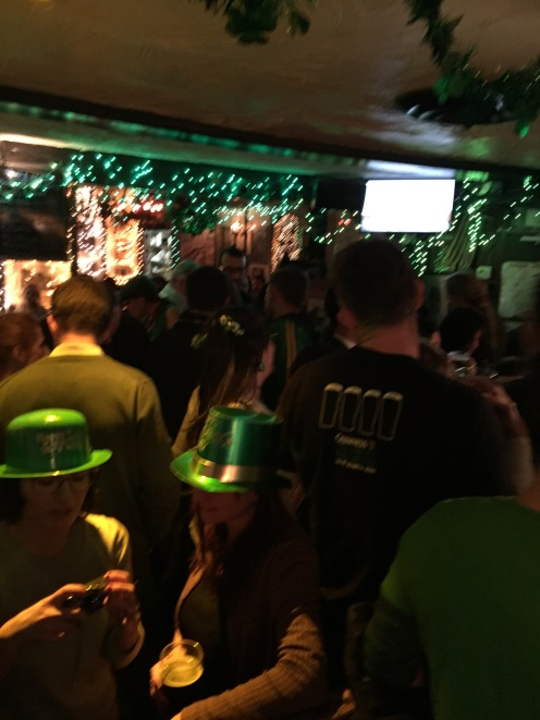 Paddy's party atmosphere at Molly's Bar in NYC