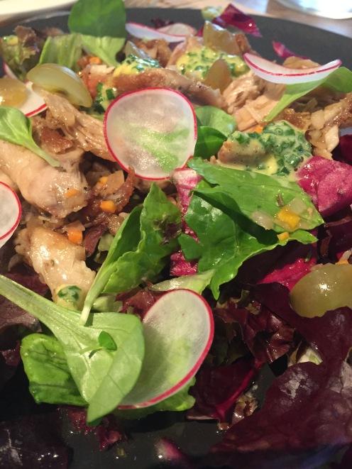Warm duck confit salad