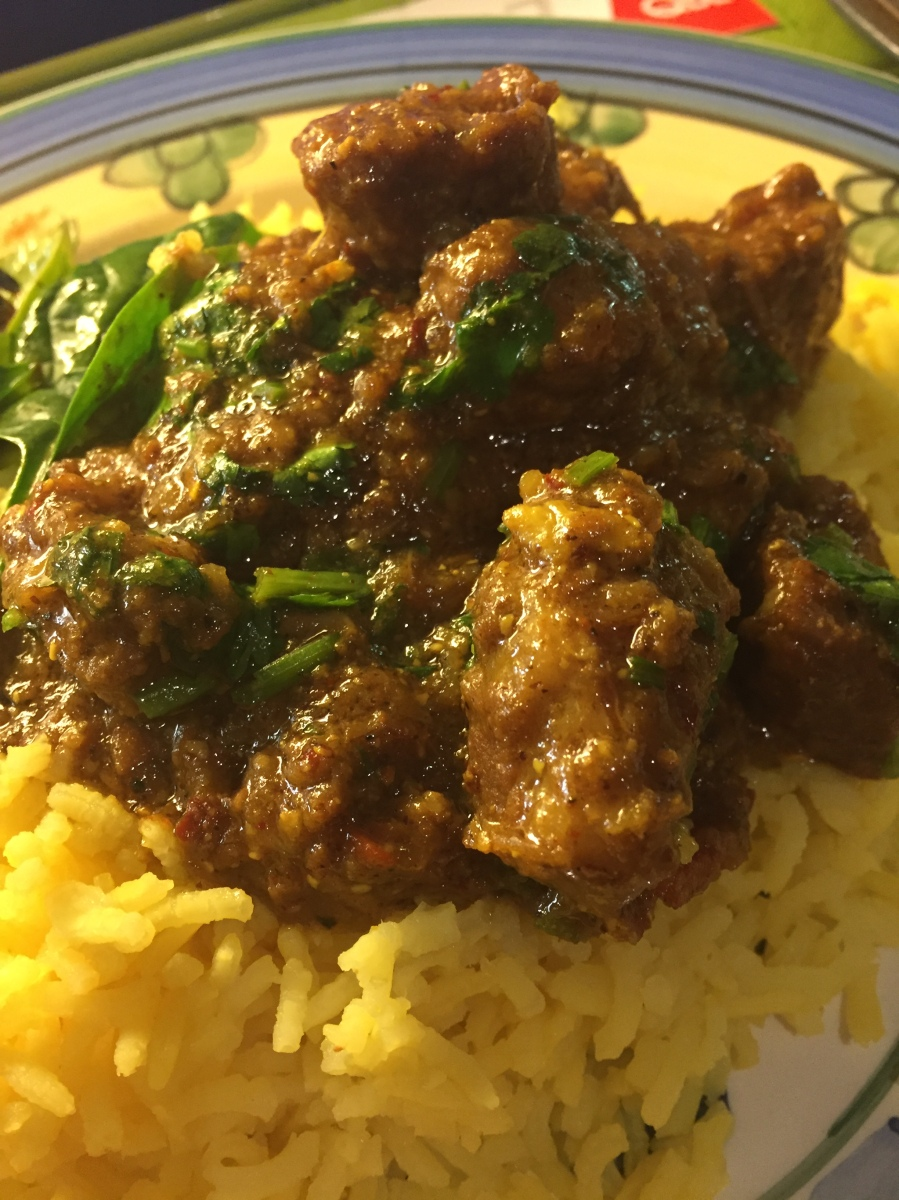 Pork Vindaloo with dried and fresh chillies