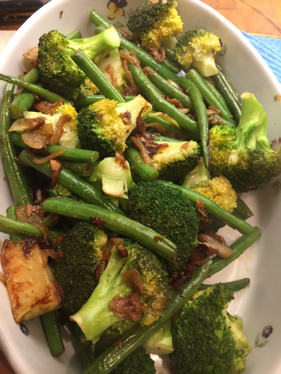 Broccoli and Green Beans with garlic, anchovies and onion
