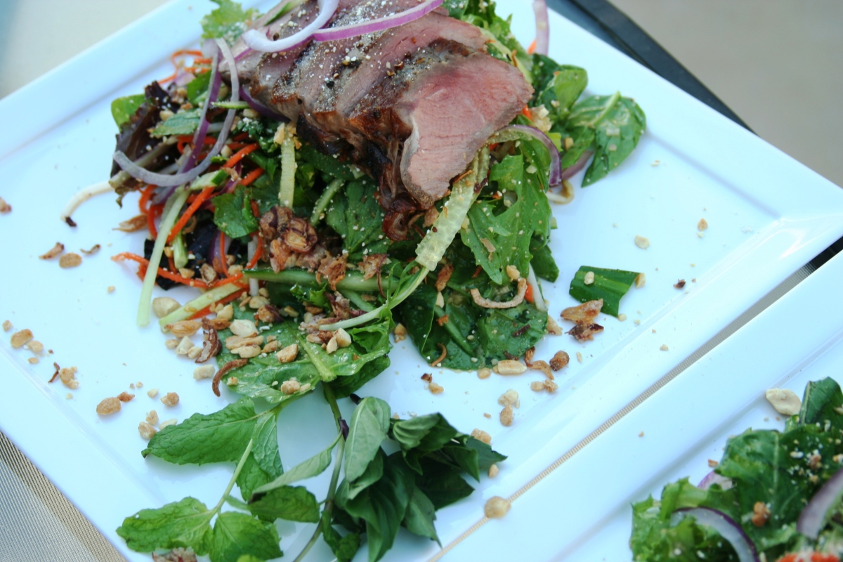 Vietnamese Style Beef Salad with Fresh Herbs and Mix Greens, Sweet Lime Dressing